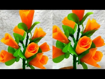#bouquet #guldasta Best Out Of Waste Cloth Bag. beautiful guldasta. How to make Rose Flowers