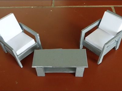 DIY How to make Table and Chair from cardboard -  Paper Crafts (very easy)