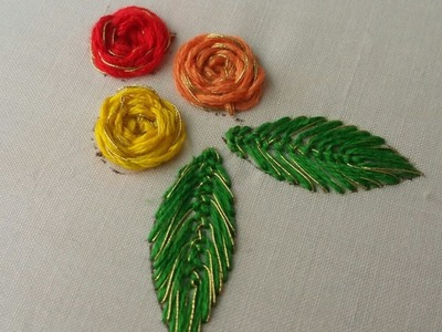 Flowers embroidary,  shiny roses embroidery,hand embroidery.spider stitch.