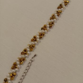 Handmade White Pearl Austria Golden Crytal Glass Bracelet