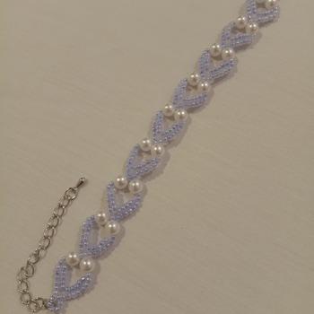 Handmade White Pearl Purple Heart Bracelet