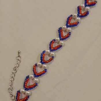 Handmade White Pearl Red Blue Heart Bracelet