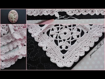 How to Crochet Blanket Border.Crochet Lace Flower Granny Square