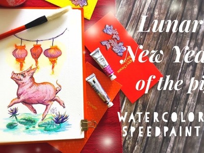 How to draw CNY 2019| Lunar New Year of the Pig | Watercolor | Gongxi fa cai | Draw with me|