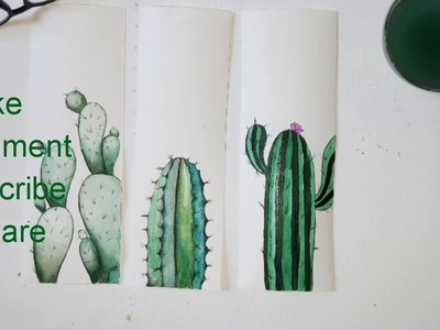 How to draw simple and soft color painting ( three cactuses) [play with different shades of green]