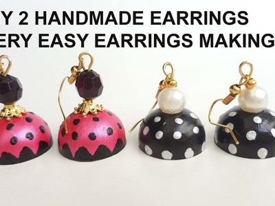 How to Make 2 Handmade Earrings.Beautiful earrings.Pearl Earrings.Simple and Easy Earrings