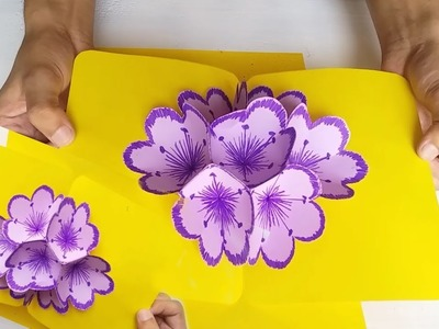 How to make 3D Flower Pop up Card  using paper || by Crafts for you