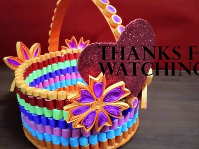 How to Make a Beautiful Quilling Paper Flower Basket for Cards ... | 300x400