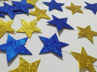 How to make a moon and star from glitter foam sheet| Easy kids Room Decor|Diy craft