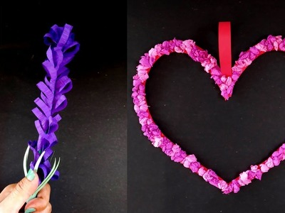 How To Make Beautiful Lavender Flower Stick | Paper Heart Wall Hanging | Easy Wall Decoration Ideas
