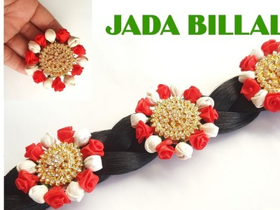 How to make Beautiful red flower Hair accessories at home.Easy Jada Billalu Making Ideas at Home