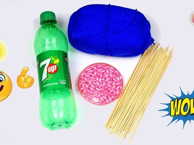 How to make crafts with Plastic bottle and chopsticks    Best out of waste ideas at home