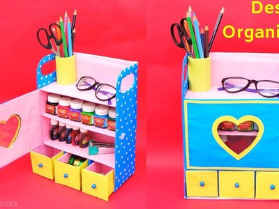 How to make Desk Organizer from waste Shoebox | Best out of waste | DIY Room organizer