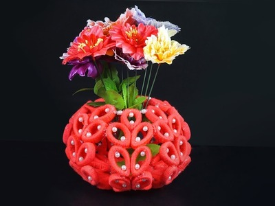HOW TO MAKE FLOWER VASE WITH WASTE NEWSPAPER | BEST OUT OF WASTE | STEP BY STEP TUTORIAL