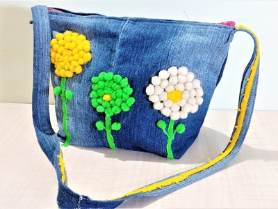 How To Make  Hand Bag From Old Jeans | DIY Hand Bag | Old Cloth Reuse Ideas