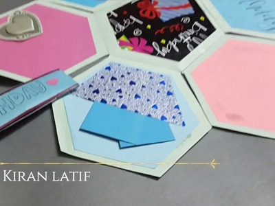 How to make Hexagonal Folded Scrapbook for Birthday| Tutorial|