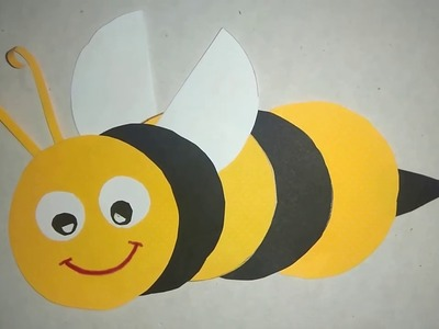 How To Make  Honey Bee Paper Craft ! Very Simpl Origami Honey Bee Step By Step