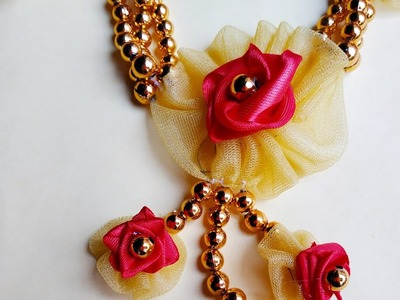HOW TO MAKE NECKLACE USING RIBBON, NET CLOTH, PEARL, THREAD, GLUE |  BEST JEWELRY FOR HALDI CEREMONY