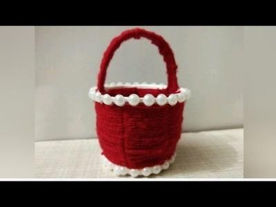 How to Make Weaving Basket Using Woollen Yarn  || Paper Glass Weaving || Easy Crafts