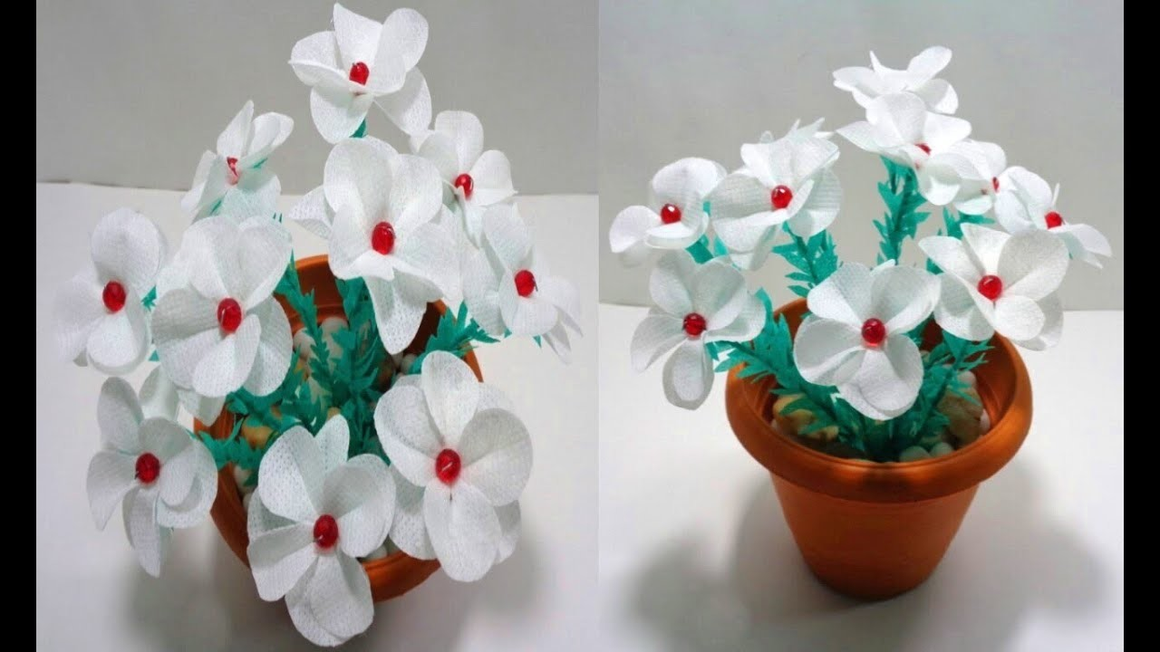 How to Make White Shopping Bag Flowers - Handmade Shopping Bag Flowers - DIY Room Decor Idea
