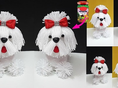How to make yarn.wool dog From waste bottle step by step at home | DIY Yarn.Wool craft idea