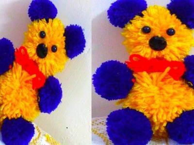 POM POM TEDDY BEAR.HOW TO MAKE POM POM TEDDY WITH WOOL.DIY.WOOLEN TEDDY BEAR MAKING AT HOME