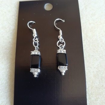 Black bead and rhinestone earrings