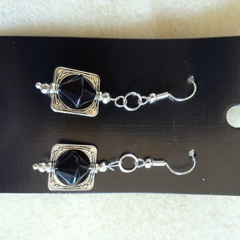 Black glass beaded framed earrings
