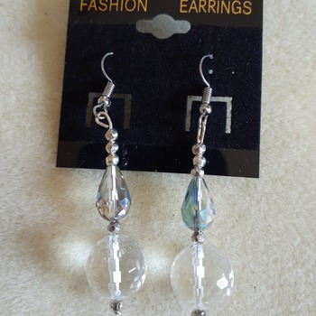 Dangling glass Aurora borealis earrings