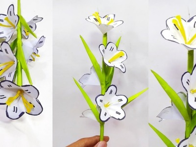 DIY- How to make Beautiful Paper Stick Flower   paper Flower   Stick Flower using paper