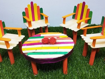 DIY - How to Make Miniature Table and Chairs - Stick | Sofa set with ice cream stick | Brighty Craft