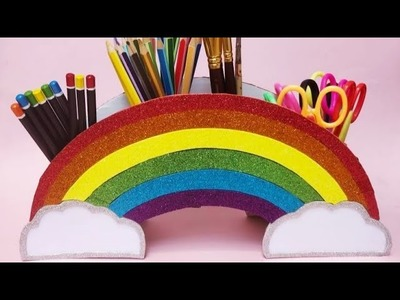 Diy How to make Rainbow Pencil Stand