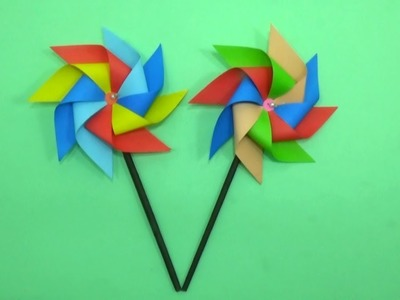 DIY Paper Pinwheel That Spins - How to Make a Windmill With Color Paper - Tutorial for Crafts Lover
