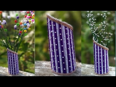 Easy Newspaper flower vase. How to make a flower vase at Home. Newspaper Craft. 110