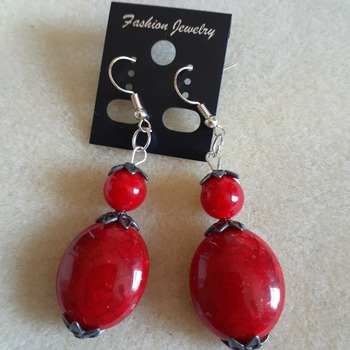 Faux red turquoise earrings