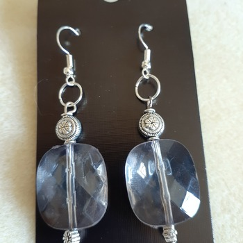 Gray acrylic beaded earrings