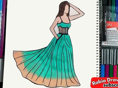 How to Draw the Floral Ball Gown | Perry Green Long Prom Dress