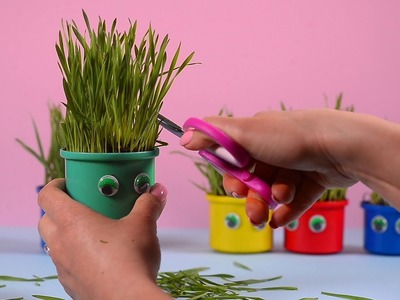 How to grow wheatgrass heads and candy carrot? Kids Easter crafts! Smarty & Arty