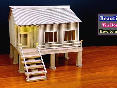 Make, How to make Beautiful Tin House form cardboard  School