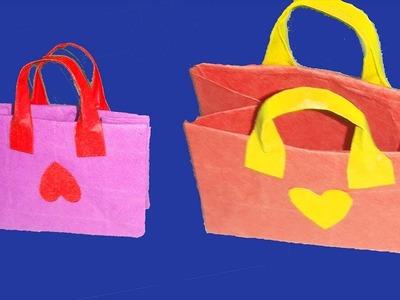 How To Make  Origami Mini Paper Bag ! Handmade Kids Paper Bag