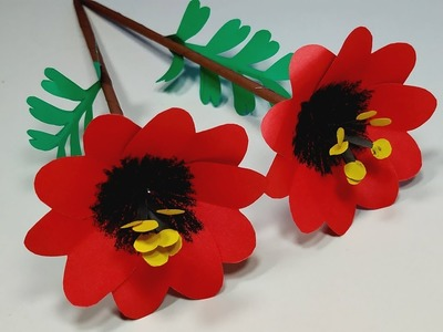 How to Make Paper Stick Flower Idea! Paper Handcraft Idea | Paper Flower | Jarine's Crafty Creation