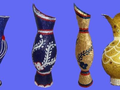 How to make plastic bottle flower vase||4 flower vase of this channel ||dustu pakhe