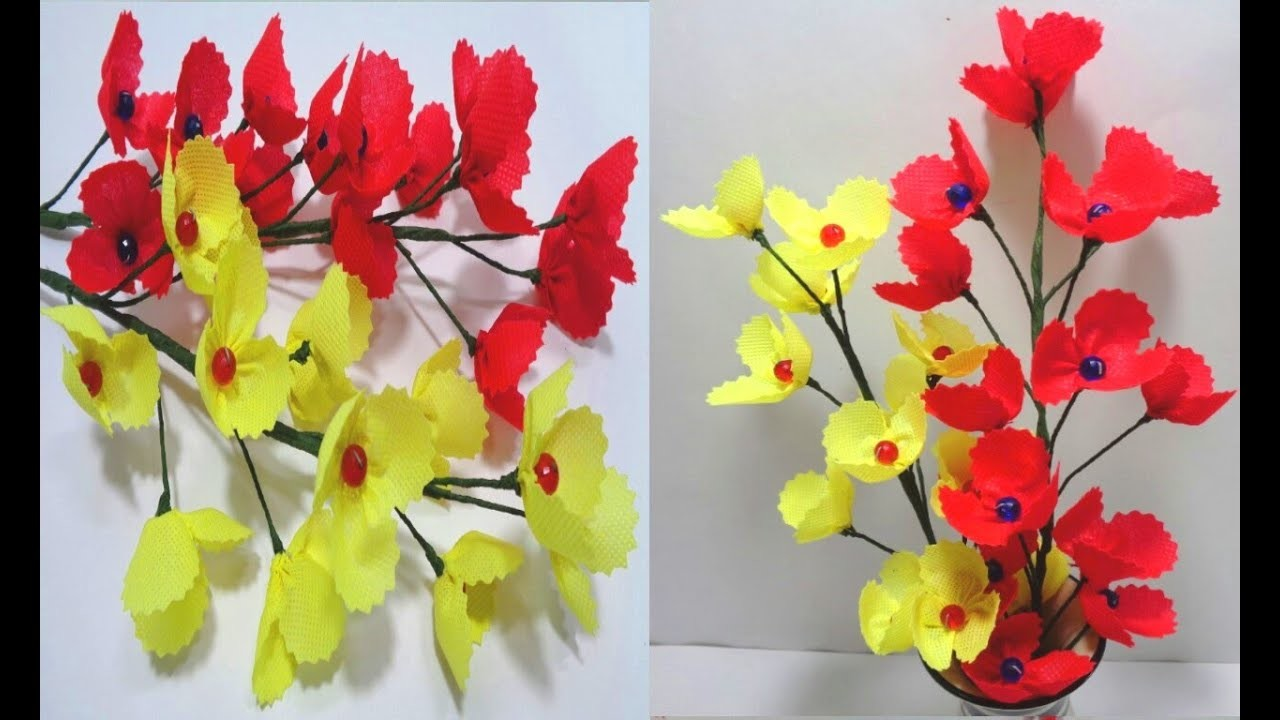 How to Make Red & Yellow Shopping Bag Flowers || DIY Making Flower Bunches Using Shopping Bag