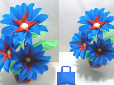 How to Make Shopping Bag Flowers|| Making Flowers Using Waste Shopping Bag || DIY Room Decor Idea