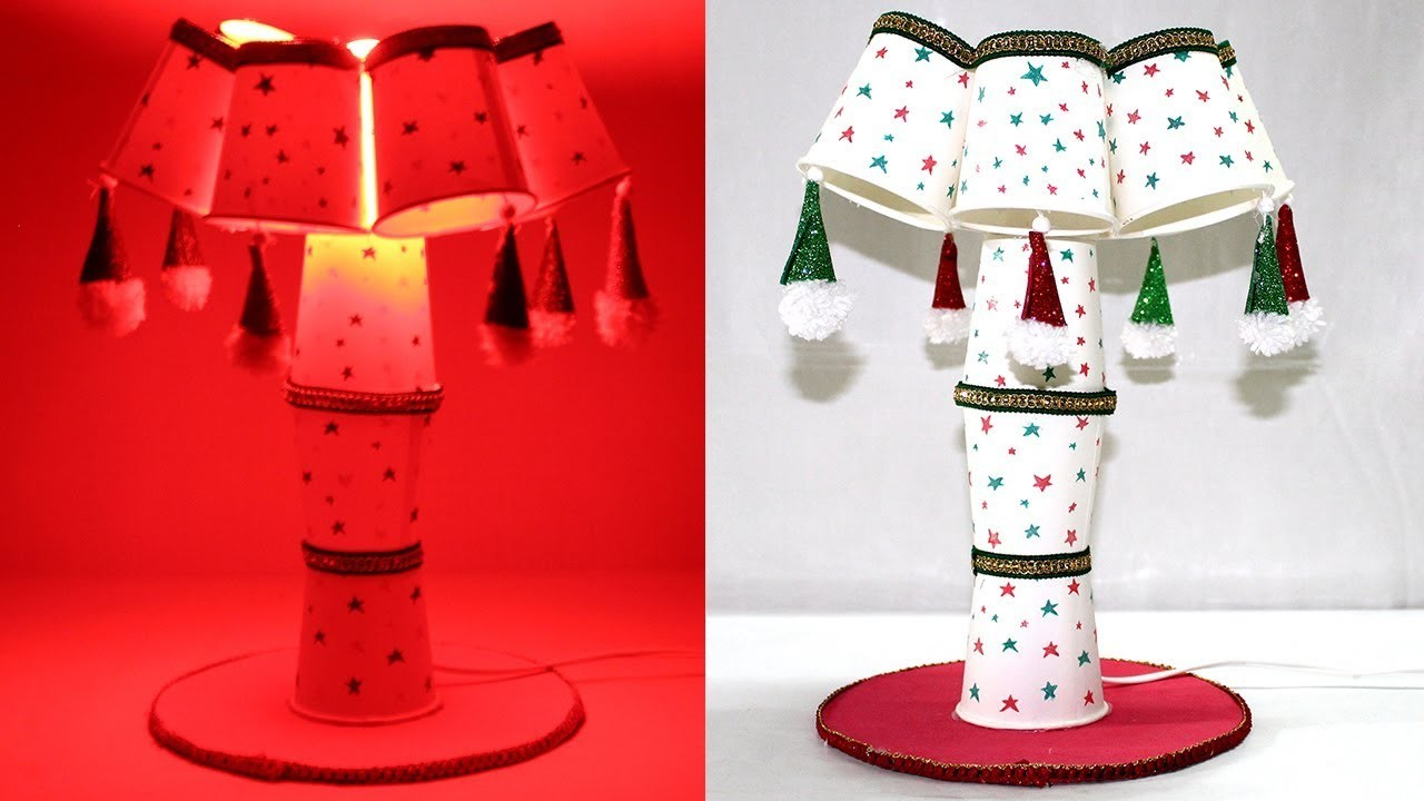 How to Make Show Lamp with Paper Glass   Table Lamp Making at Home   #Lamp #Recycle #Papercup