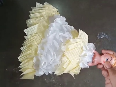 How to make tissue paper doll. doll dress making easy tutorials.showpiece
