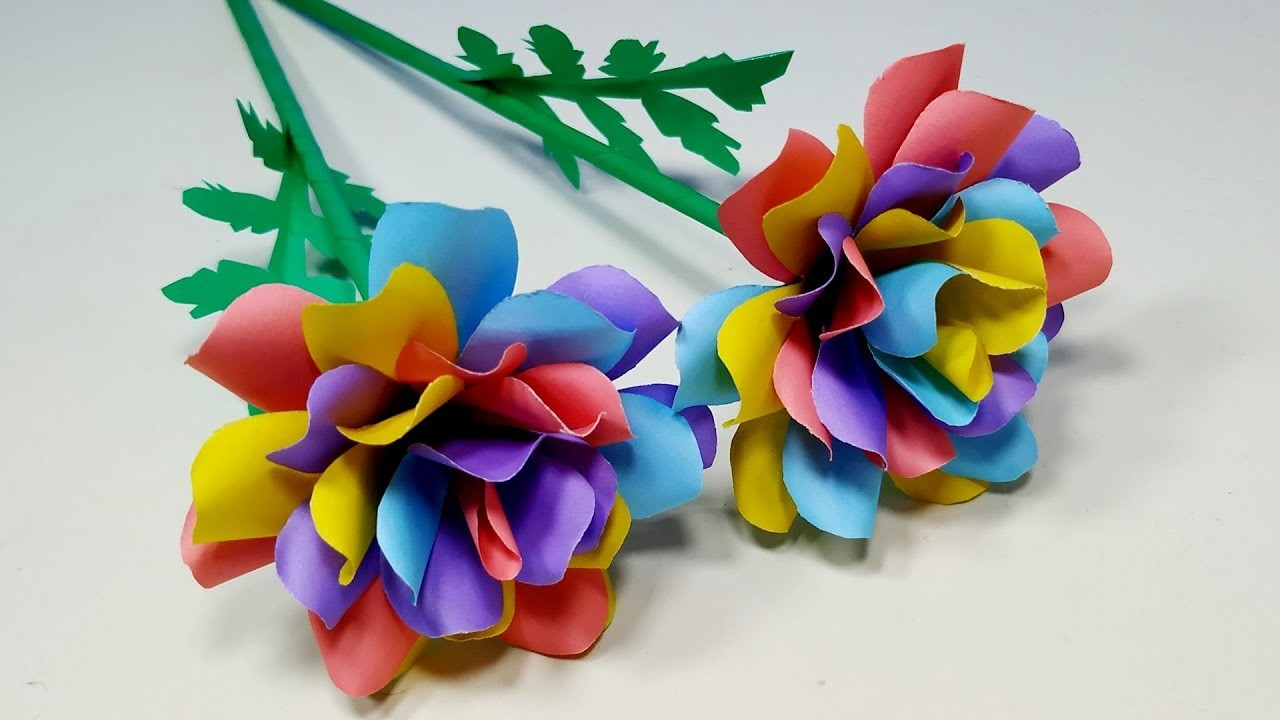 How to Make Very Beautiful Colorful Paper Stick Flower Decoration Idea! DIY|Jarine's Crafty Creation