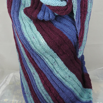 Knitted Women's Blue, Turquoise And Burgundy Striped Ribbed Triangular Shawl – Free Shipping