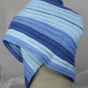 Knitted Women's Blues Striped Ribbed Triangular Shawl – Free Shipping