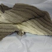 Knitted Women's Browns And Cream Striped Ribbed Triangular Shawl – Free Shipping
